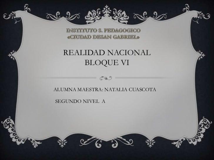 INSTITUTO S. PEDAGOGICO<br />«CIUDAD DESAN GABRIEL»<br />REALIDAD NACIONAL<br />BLOQUE VI<br />ALUMNA MAESTRA: NATALIA CUA...
