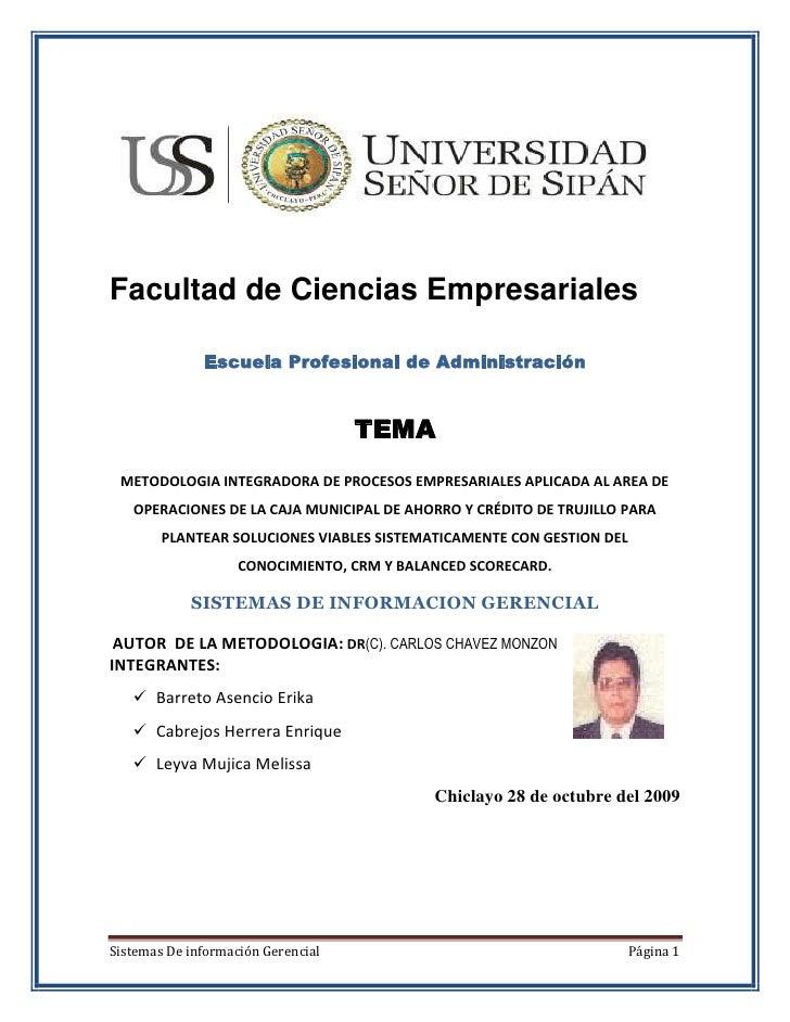 Facultad de Ciencias Empresariales<br />Escuela Profesional de Administración<br />TEMA<br />METODOLOGIA INTEGRADORA DE PR...