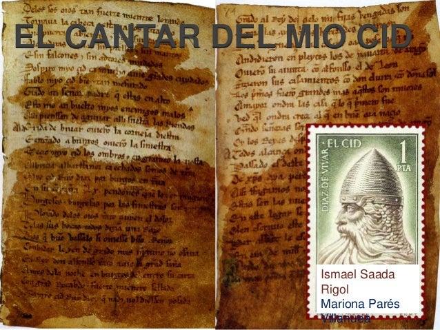 EL CANTAR DEL MIO CID  Ismael Saada Rigol Mariona Parés Villanuea