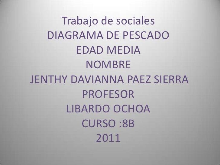 Trabajo de sociales DIAGRAMA DE PESCADOEDAD MEDIANOMBRE JENTHY DAVIANNA PAEZ SIERRAPROFESORLIBARDO OCHOACURSO :8B2011<br />