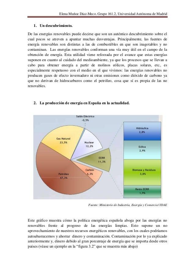 Elena Muñoz Díaz-Meco. Grupo 161.2, Universidad Autónoma de Madrid   1. Un descubrimiento.De las energías renovables puede...