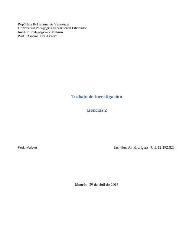 """República Bolivariana de Venezuela Universidad Pedagógica Experimental Libertador Instituto Pedagógico de Maturín Prof. """"A..."""