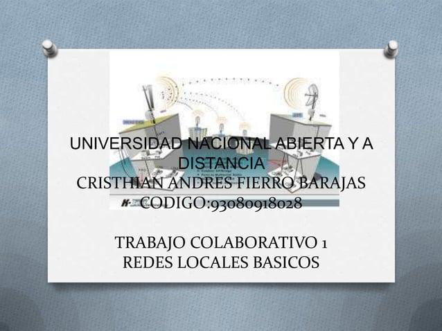 UNIVERSIDAD NACIONAL ABIERTA Y A            DISTANCIA CRISTHIAN ANDRES FIERRO BARAJAS        CODIGO:93080918028    TRABAJO...