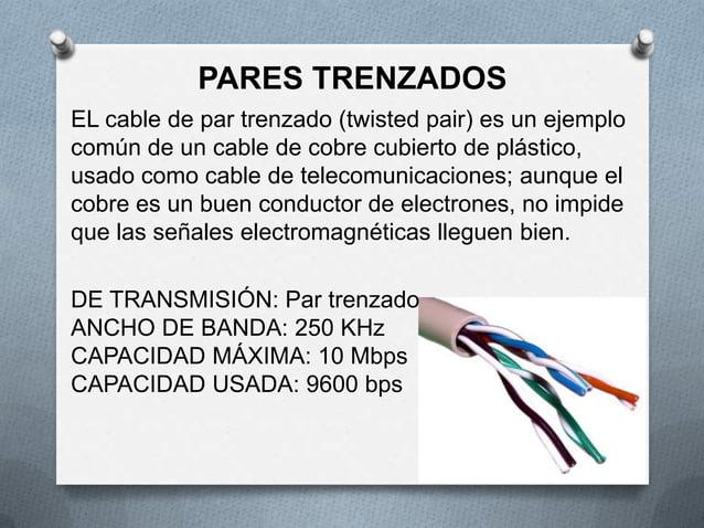 PARES TRENZADOSEL cable de par trenzado (twisted pair) es un ejemplocomún de un cable de cobre cubierto de plástico,usado ...