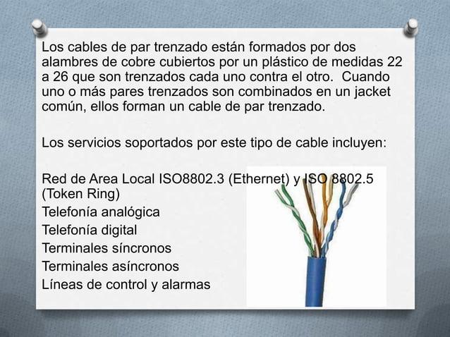 Los cables de par trenzado están formados por dosalambres de cobre cubiertos por un plástico de medidas 22a 26 que son tre...