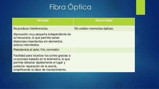 Fibra ÓpticaVentajas DesventajasNo produce interferencias. No existen memorias ópticas.Atenuación muy pequeña independient...