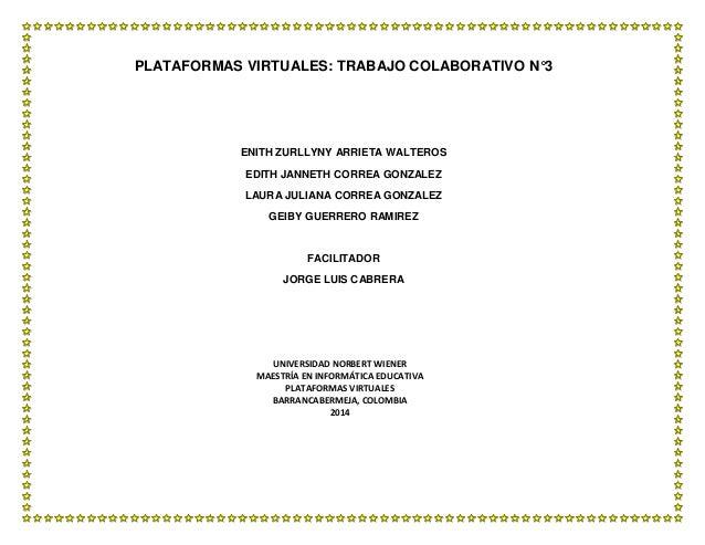 PLATAFORMAS VIRTUALES: TRABAJO COLABORATIVO N°3  ENITH ZURLLYNY ARRIETA WALTEROS EDITH JANNETH CORREA GONZALEZ LAURA JULIA...