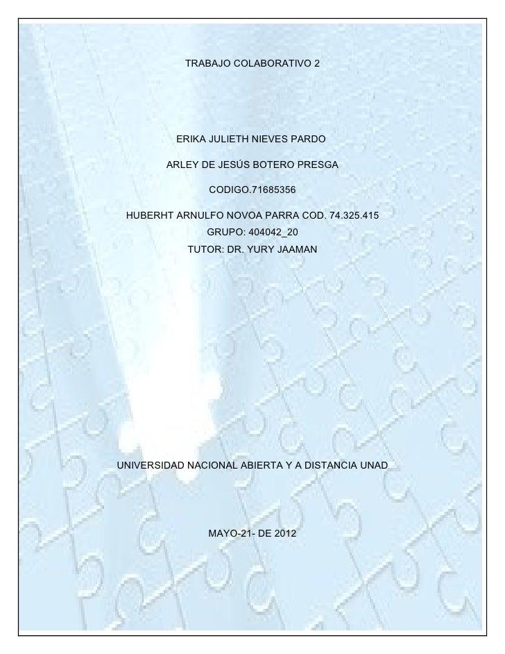 TRABAJO COLABORATIVO 2          ERIKA JULIETH NIEVES PARDO        ARLEY DE JESÚS BOTERO PRESGA               CODIGO.716853...
