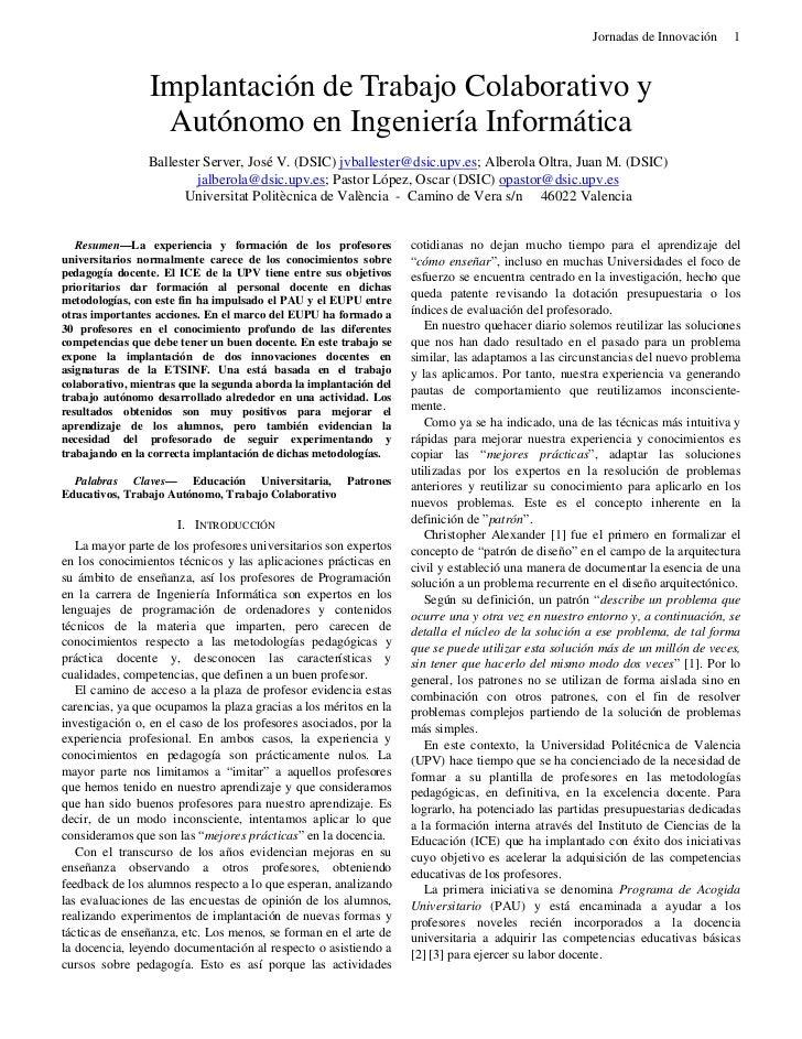 Jornadas de Innovación     1                 Implantación de Trabajo Colaborativo y                  Autónomo en Ingenierí...