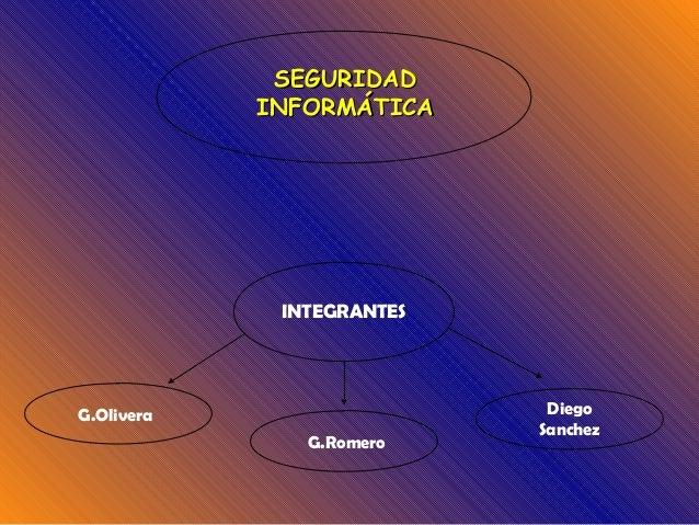 SEGURIDADSEGURIDAD INFORMÁTICAINFORMÁTICA INTEGRANTES G.Olivera G.Romero Diego Sanchez