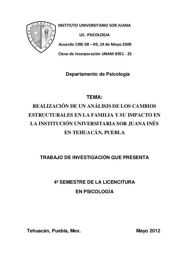 INSTITUTO UNIVERSITARIO SOR JUANALIC. PSICOLOGIAAcuerdo CIRE 08 – 09, 19 de Mayo 2009Clave de incorporación UNAM 8951 - 25...