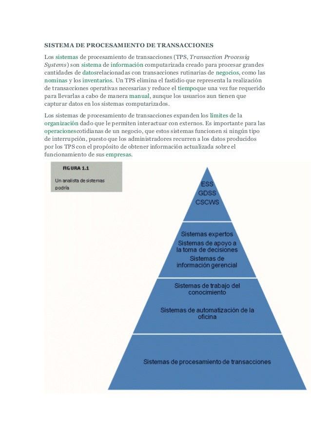 SISTEMA DE PROCESAMIENTO DE TRANSACCIONES Los sistemas de procesamiento de transacciones (TPS, Transaction Processig Syste...