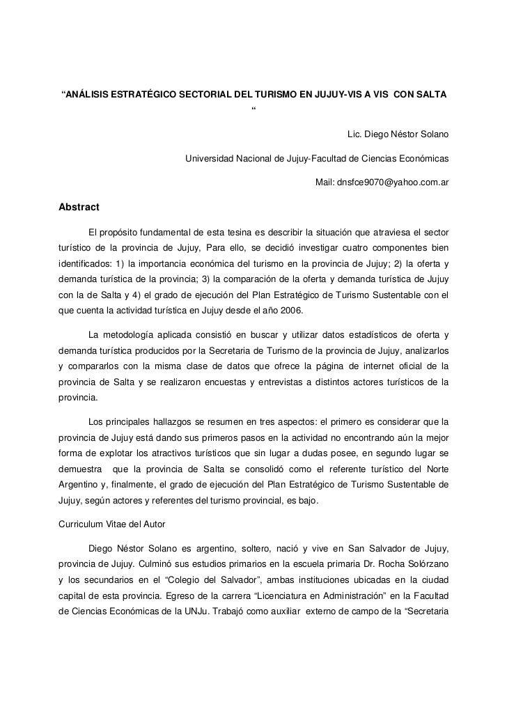 """""""ANÁLISIS ESTRATÉGICO SECTORIAL DEL TURISMO EN JUJUY-VIS A VIS CON SALTA                                                """" ..."""