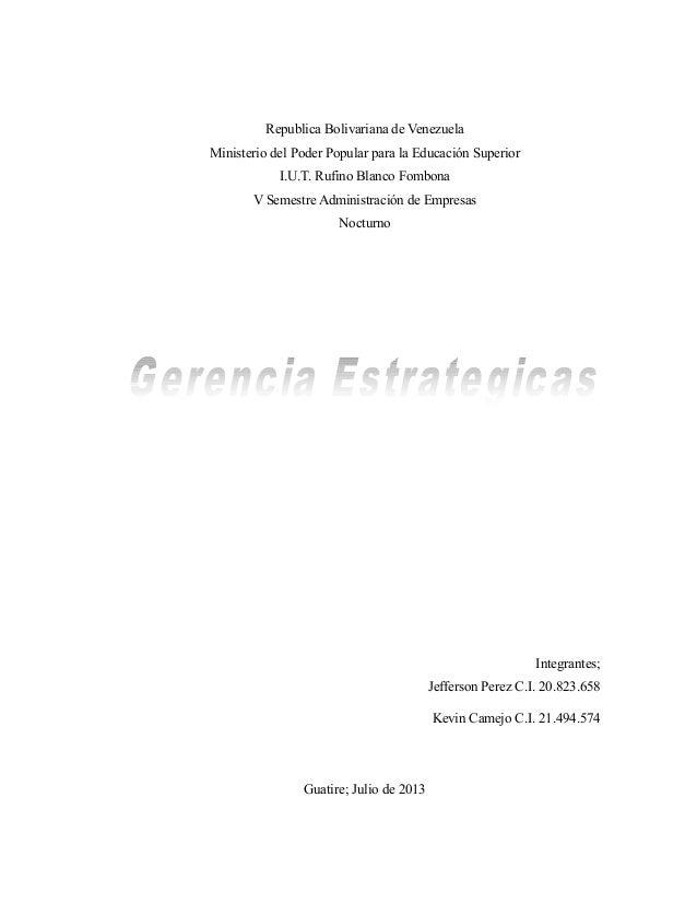 Republica Bolivariana de Venezuela Ministerio del Poder Popular para la Educación Superior I.U.T. Rufino Blanco Fombona V ...