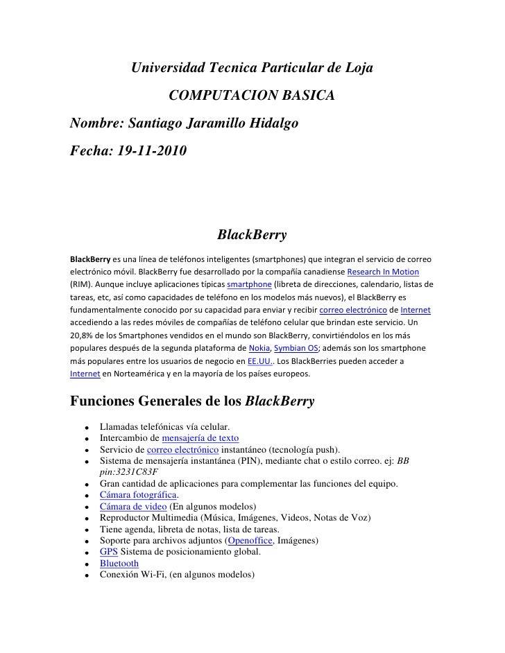 Universidad Tecnica Particular de Loja<br />COMPUTACION BASICA<br />Nombre: Santiago Jaramillo Hidalgo<br />Fecha: 19-11-2...