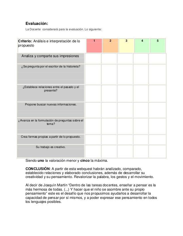 Evaluación: La Docente considerará para la evaluación. Lo siguiente: Criterio: Análisis e interpretación de lo propuesto 1...