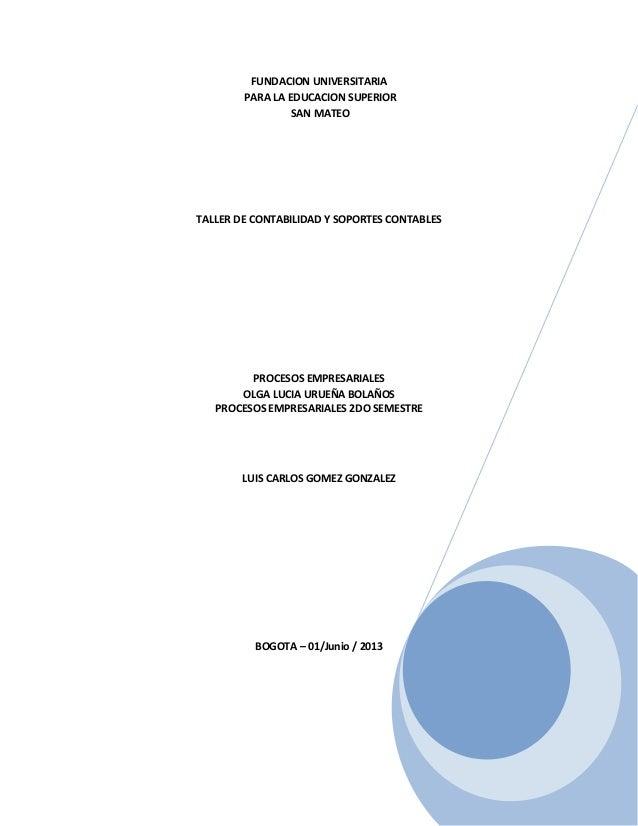FUNDACION UNIVERSITARIAPARA LA EDUCACION SUPERIORSAN MATEOTALLER DE CONTABILIDAD Y SOPORTES CONTABLESPROCESOS EMPRESARIALE...
