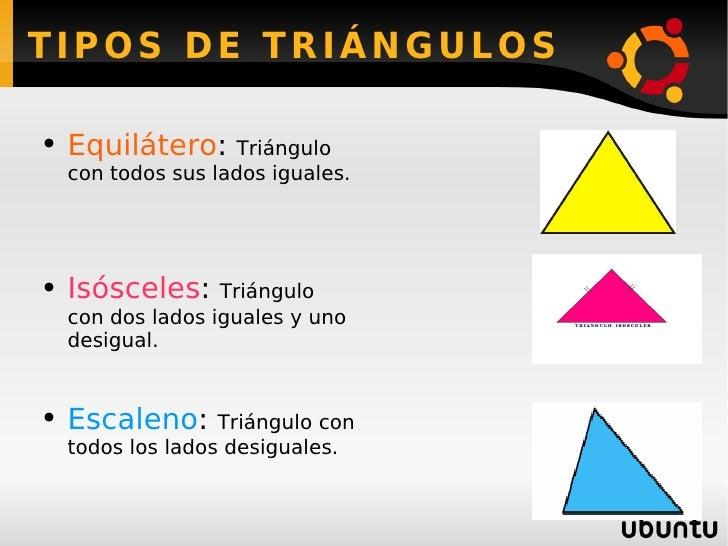 TIPOS DE TRIÁNGULOS <ul><li>Equilátero :  Triángulo con todos sus lados iguales. </li></ul><ul><li>Isósceles :  Triángulo ...
