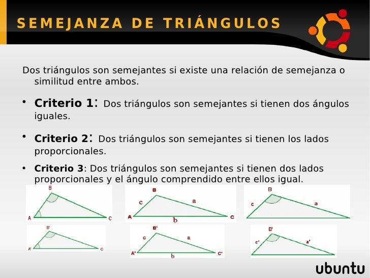 SEMEJANZA DE TRIÁNGULOS <ul><li>Dos triángulos son semejantes si existe una relación de semejanza o similitud entre ambos....