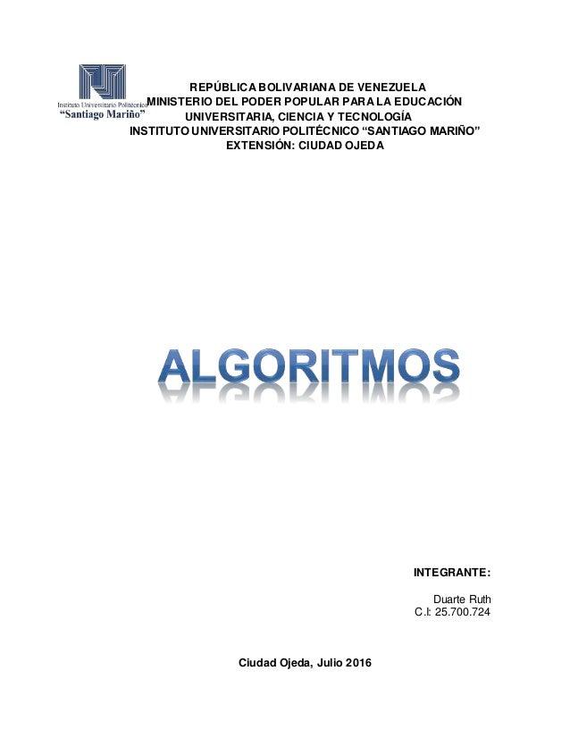 REPÚBLICA BOLIVARIANA DE VENEZUELA MINISTERIO DEL PODER POPULAR PARA LA EDUCACIÓN UNIVERSITARIA, CIENCIA Y TECNOLOGÍA INST...