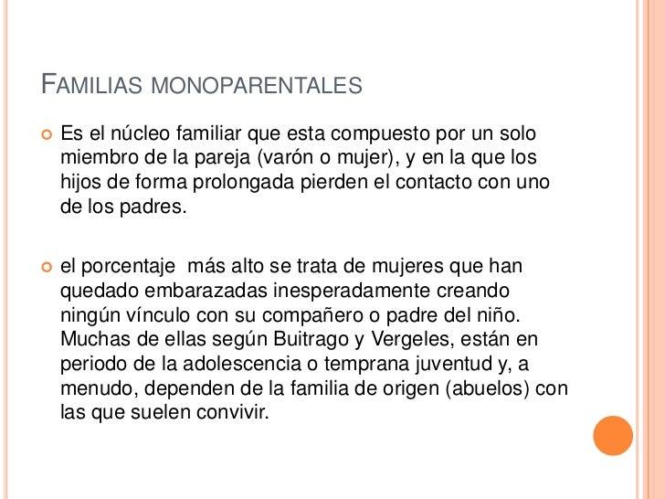 Familias monoparentales<br />Es el núcleo familiar que esta compuesto por un solo miembro de la pareja (varón o mujer), y ...