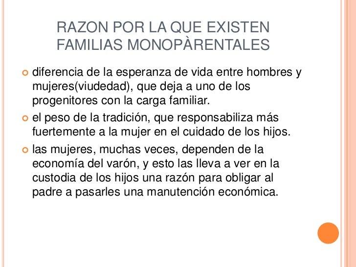RAZON POR LA QUE EXISTEN FAMILIAS MONOPÀRENTALES<br />diferencia de la esperanza de vida entre hombres y mujeres(viudedad)...