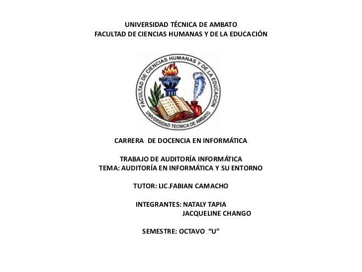UNIVERSIDAD TÉCNICA DE AMBATOFACULTAD DE CIENCIAS HUMANAS Y DE LA EDUCACIÓN     CARRERA DE DOCENCIA EN INFORMÁTICA      TR...