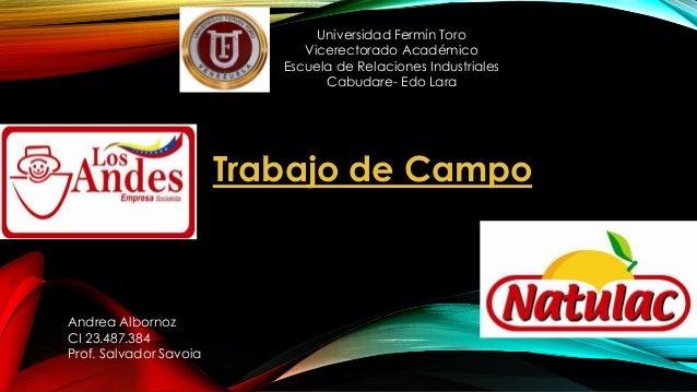 Universidad Fermín Toro  Vicerectorado Académico  Escuela de Relaciones Industriales  Cabudare- Edo Lara  Trabajo de Campo...