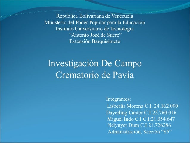 """República Bolivariana de Venezuela Ministerio del Poder Popular para la Educación Instituto Universitario de Tecnología """"A..."""