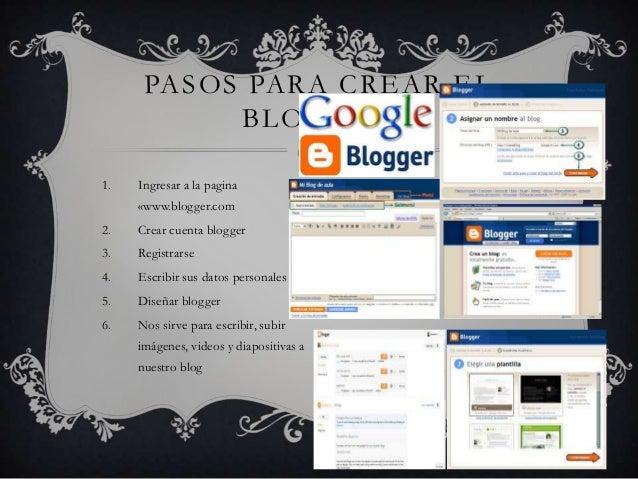 1. Ingresar a la pagina «www.blogger.com 2. Crear cuenta blogger 3. Registrarse 4. Escribir sus datos personales 5. Diseña...