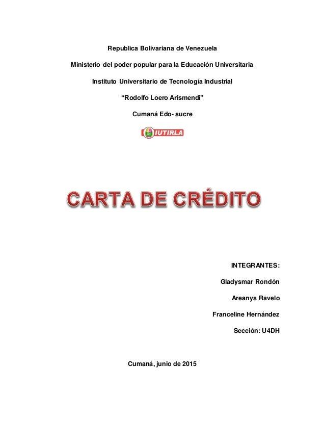 Trabajo de carta de credito for Banco de venezuela solicitud de chequera