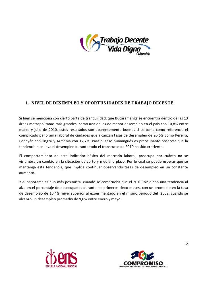 Informe Regional De Trabajo Decente- Bucaramanga y el Área Metropolitana- Resumen Ejecutivo Slide 2