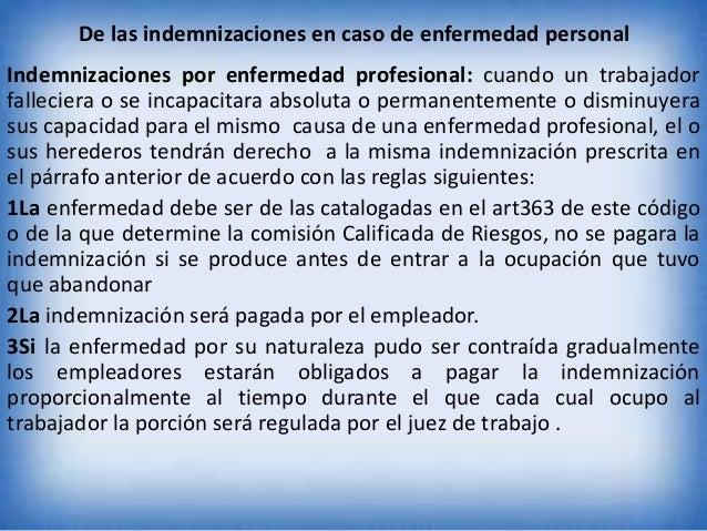 De las indemnizaciones en caso de enfermedad personal  Indemnizaciones por enfermedad profesional: cuando un trabajador fa...