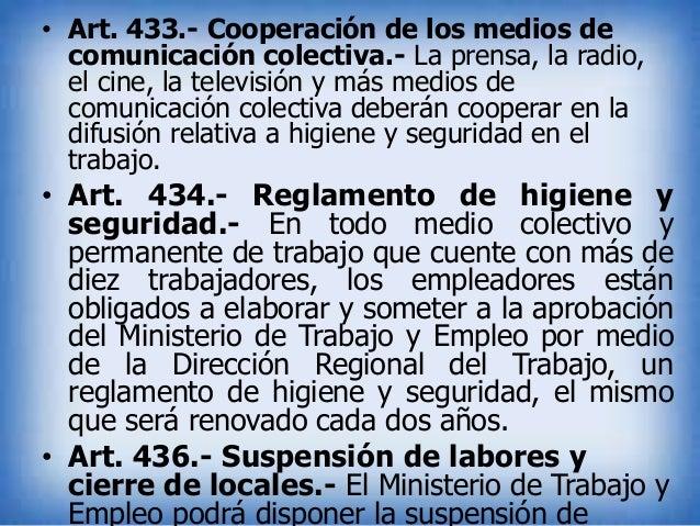 • Art. 433.- Cooperación de los medios de comunicación colectiva.- La prensa, la radio, el cine, la televisión y más medio...