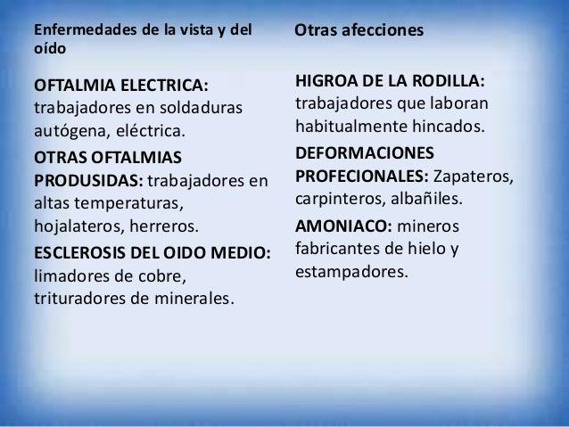 Enfermedades de la vista y del oído  Otras afecciones  OFTALMIA ELECTRICA: trabajadores en soldaduras autógena, eléctrica....