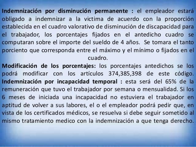 Indemnización por disminución permanente : el empleador estará obligado a indemnizar a la victima de acuerdo con la propor...