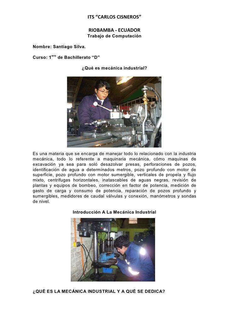 """ITS """"CARLOS CISNEROS""""                          RIOBAMBA - ECUADOR                          Trabajo de ComputaciónNombre: S..."""