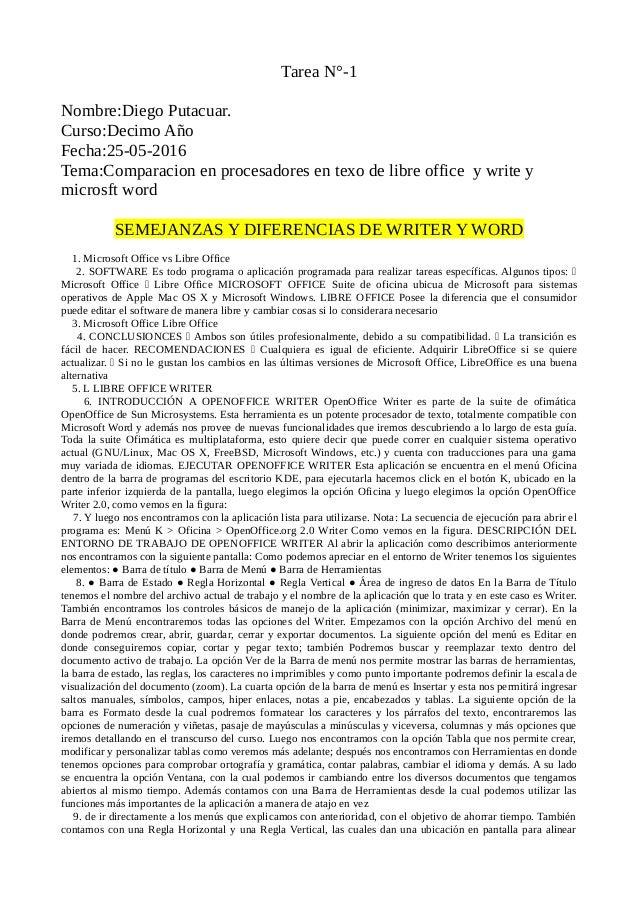 Tarea N°-1 Nombre:Diego Putacuar. Curso:Decimo Año Fecha:25-05-2016 Tema:Comparacion en procesadores en texo de libre offi...