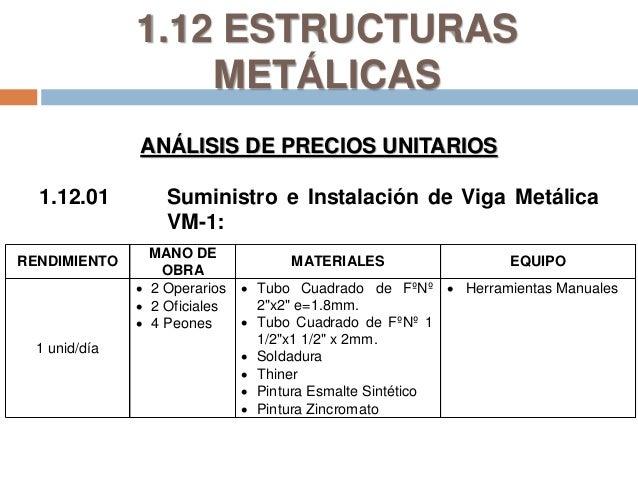 Costos y presupuestos - Precio estructura metalica ...