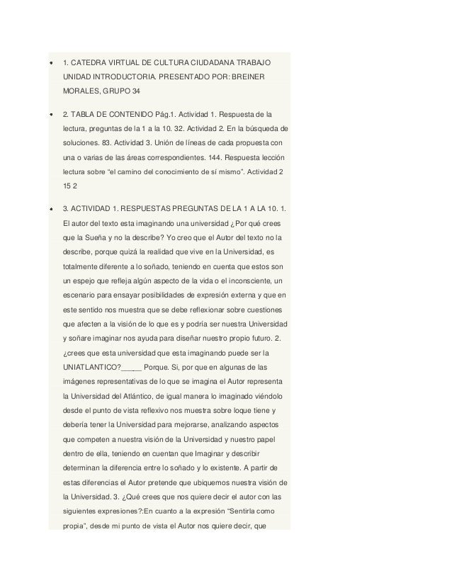 1. CATEDRA VIRTUAL DE CULTURA CIUDADANA TRABAJO UNIDAD INTRODUCTORIA. PRESENTADO POR: BREINER MORALES, GRUPO 34 2. TABLA D...