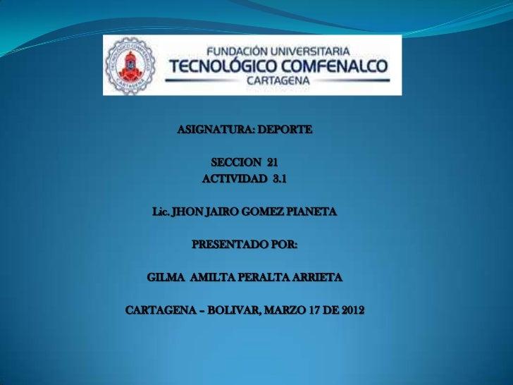 ASIGNATURA: DEPORTE            SECCION 21           ACTIVIDAD 3.1    Lic. JHON JAIRO GOMEZ PIANETA          PRESENTADO POR...