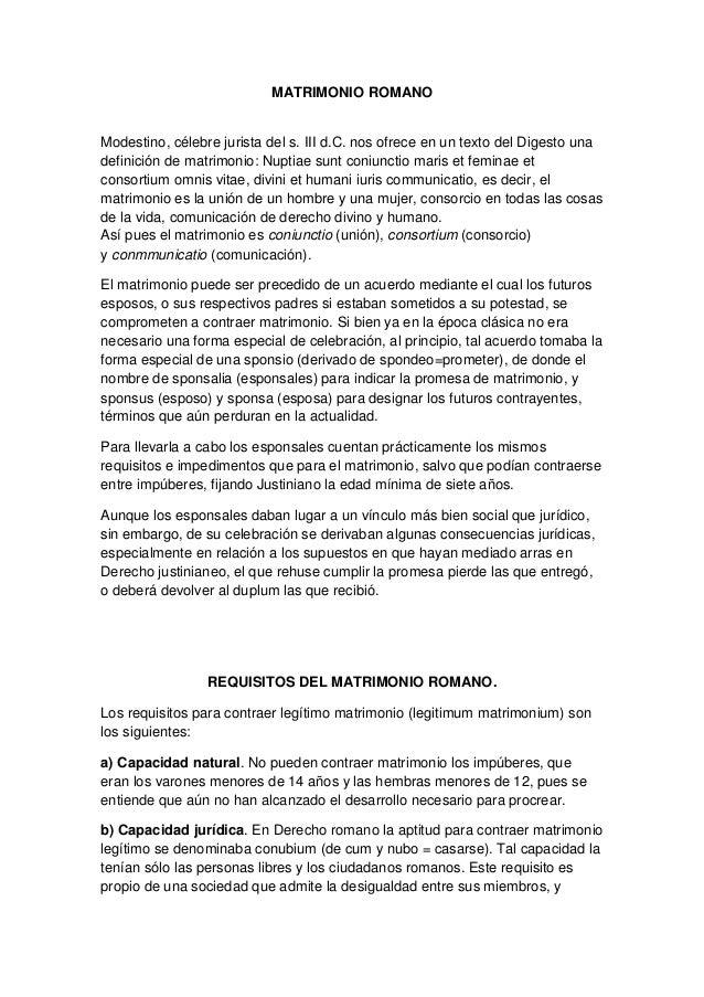 Matrimonio Romano Trabajo Monografico : Trabajo de derecho romano