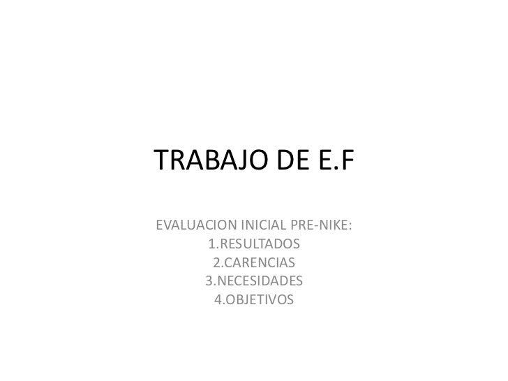 TRABAJO DE E.FEVALUACION INICIAL PRE-NIKE:      1.RESULTADOS       2.CARENCIAS      3.NECESIDADES       4.OBJETIVOS