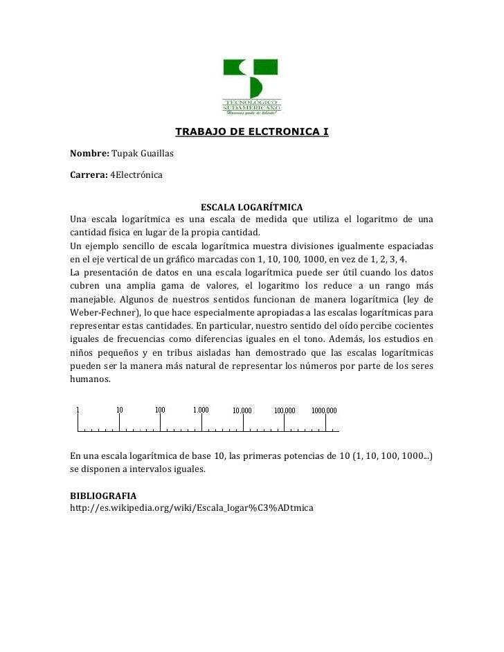TRABAJO DE ELCTRONICA INombre: Tupak GuaillasCarrera: 4Electrónica                                 ESCALA LOGARÍTMICAUna e...