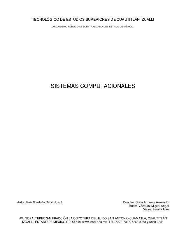 TECNOLÓGICO DE ESTUDIOS SUPERIORES DE CUAUTITLÁN IZCALLI                        ORGANISMO PÚBLICO DESCENTRALIZADO DEL ESTA...