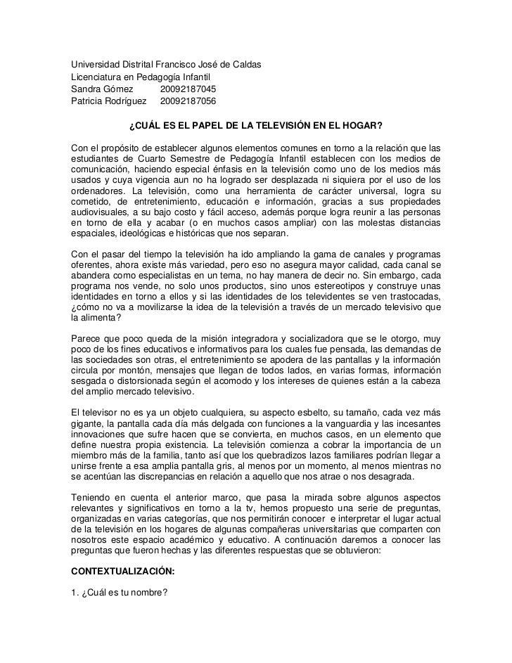 Universidad Distrital Francisco José de Caldas<br />Licenciatura en Pedagogía Infantil<br />Sandra Gómez    20092187045<br...
