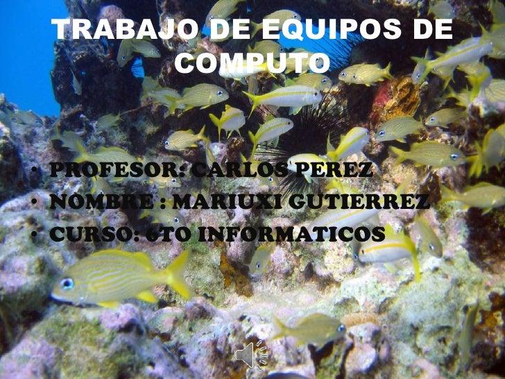 TRABAJO DE EQUIPOS DE COMPUTO<br />PROFESOR: CARLOS PEREZ<br />NOMBRE : MARIUXI GUTIERREZ<br />CURSO: 6TO INFORMATICOS<br />