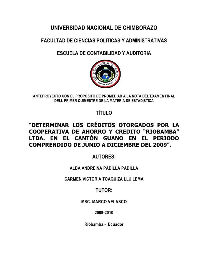 UNIVERSIDAD NACIONAL DE CHIMBORAZO      FACULTAD DE CIENCIAS POLITICAS Y ADMINISTRATIVAS              ESCUELA DE CONTABILI...