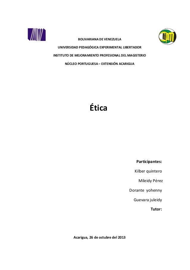 BOLIVARIANA DE VENEZUELA UNIVERSIDAD PEDAGÓGICA EXPERIMENTAL LIBERTADOR INSTITUTO DE MEJORAMIENTO PROFESIONAL DEL MAGISTER...