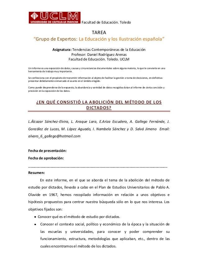 """Facultad de Educación. Toledo                              TAREA    """"Grupo de Expertos: La Educación y los Ilustración esp..."""